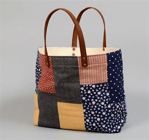 Patchwork Tote - th s co tote bag with leather handles patchwork 4
