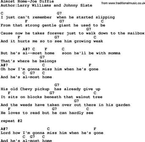 country almost home joe diffie lyrics and chords