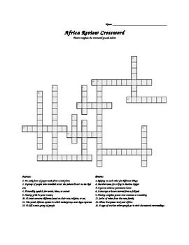 easy crossword puzzles south africa africa crossword puzzle by lgaron1 teachers pay teachers