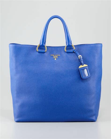 Prada Pebbled Leather Weekend Bag by Lyst Prada Daino Pebbled Leather Tote Bag In Blue