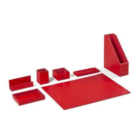 Red Leather Desk Accessories Set Arenson Office Furnishings
