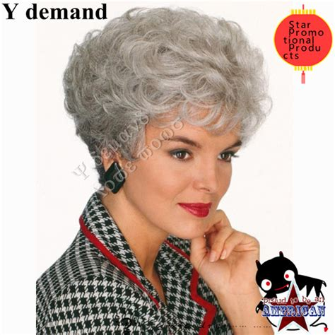 wig style for an 80 year old lady heat resistant synthetic short curly gray wig fashion grey