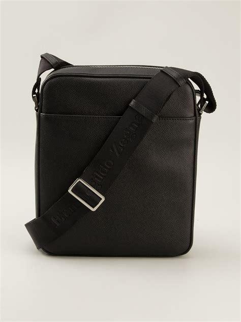 ermenegildo zegna small messenger bag in black for lyst