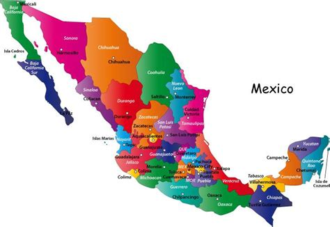 map of mexico states and cities mexico states and capitals colorful map of mexico