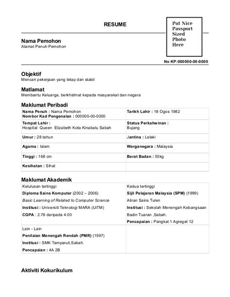 Contoh Objektif Dalam Resume by Contoh Resume