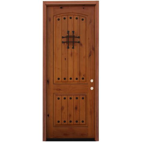Exterior Entry Doors For Home Pacific Entries 36 In X 96 In Rustic 2 Panel Stained Knotty Alder Wood Prehung Front Door With
