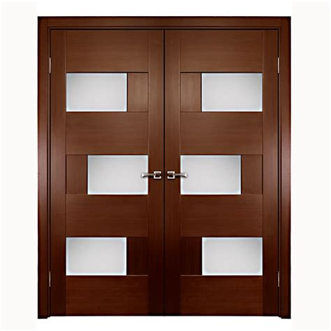 Aries Interior Double Door With Glass Panels 1 1 2 Quot Mdf Interior Doors Glass Panels