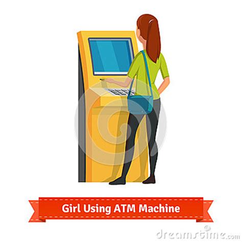 deposito contanti in ragazza al deposito facente a macchina o al ritiro di