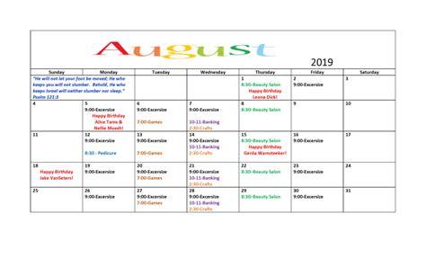 august event calendar elim society
