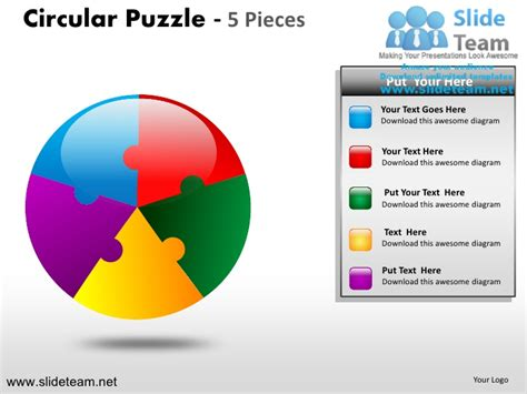 powerpoint template jigsaw puzzle piece falling with cycle circular round jigsaw maze piece puzzle 5 pieces
