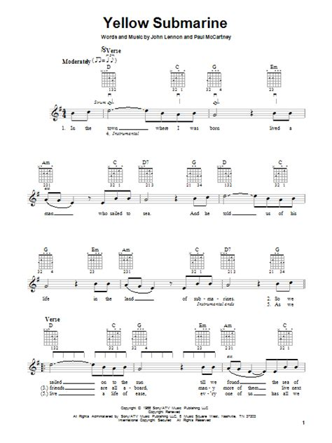 strumming pattern yellow submarine ukulele the beatles yellow submarine sheet music
