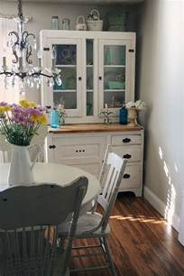 Small Dining Room Hutch Vintage Hutch Is An Absolute Space Saver In The Small Shabby Chic Style Dining Room Decoist