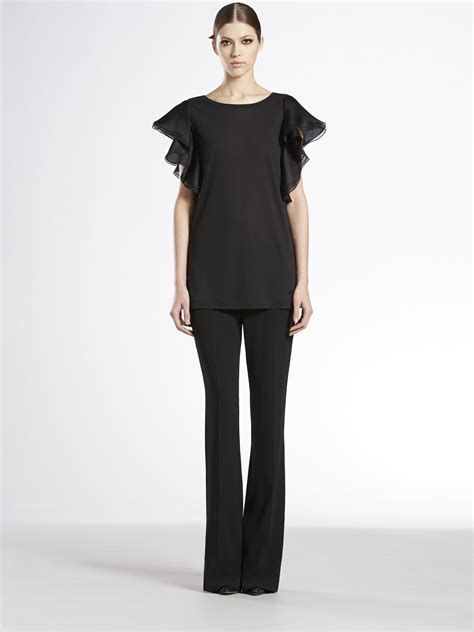 Gucci Top lyst gucci flutter sleeve top in black