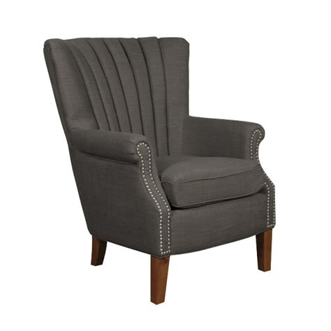 home goods armchairs silon fabric armchair in charcoal and dark brown legs