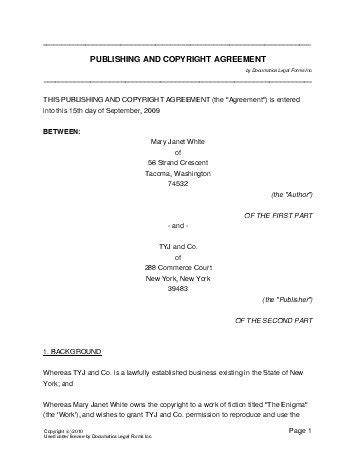 free publishing and copyright agreement south africa