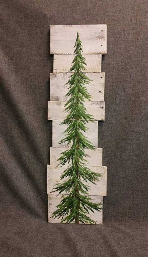 tree painted on wood ideas pine tree tree white washed reclaimed wood pallet