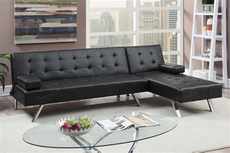 black sectional sofa bed poundex nit f7886 black leather sectional sofa bed steal