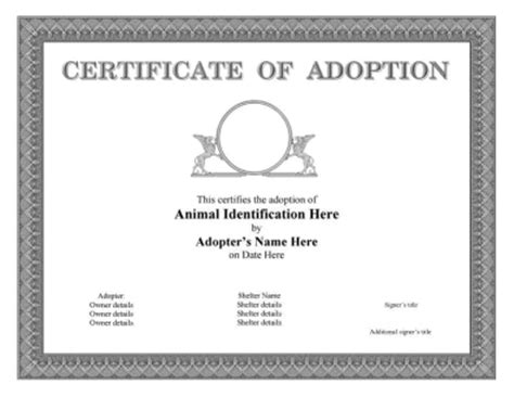 adoption certificate template free download chlain