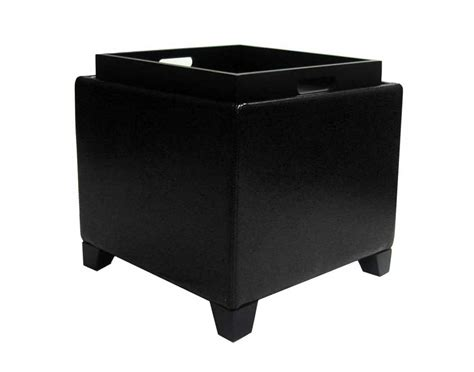 black ottoman with tray armen living contemporary storage ottoman with tray