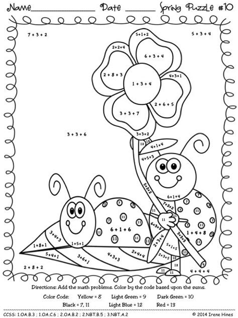 spring coloring pages math color by number spring addition math puzzles quot sum