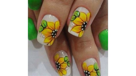 imagenes de uñas decoradas girasoles ideas para u 241 as decoradas con girasoles bonitos youtube