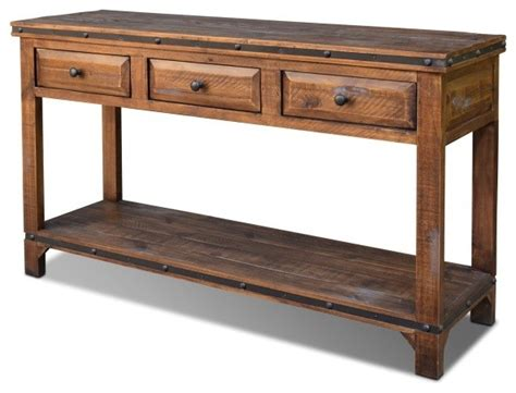 Distressed Rustic Reclaimed Solid Wood Sofa Table Rustic Wooden Sofa Table