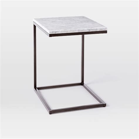 elm c table box frame c base side table marble antique bronze elm