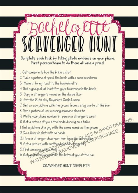 bachelorette scavenger hunt template printable bachelorette scavenger hunt bachelorette