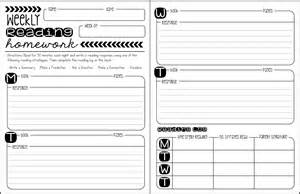 homework reading log template summertime rev 1 weekly reading homework freebie