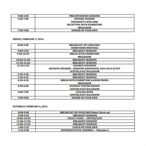 Conference Schedule Template Playbestonlinegames Retreat Schedule Template