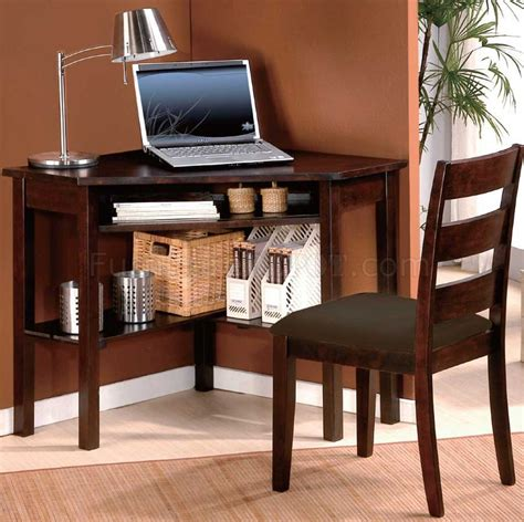 Corner Home Office Desk Cherry Finish Home Office Modern Corner Desk Chair Set