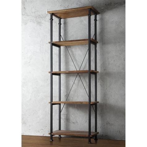 rustic bookcase 5 shelf black metal wood media tower