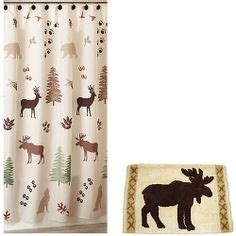 wildlife shower curtains sets woodlands fabric bathroom shower curtain deer moose lodge