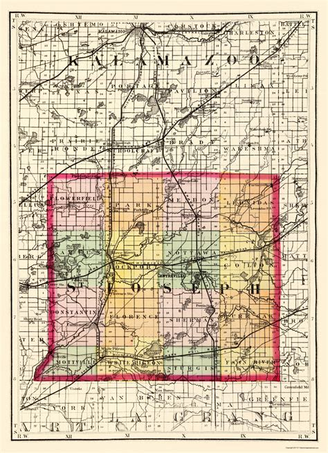 St County Civil Search County Maps St Joseph County Michigan Mi By Tackabury 1873
