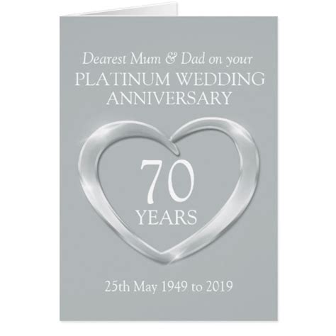 Platinum Wedding Anniversary Cards Uk by Platinum Wedding Anniversary And Card Zazzle