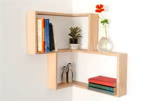 Hanging Wall Shelf Unit Corner Shelf Display Cabinet Book Vintage Mid Century