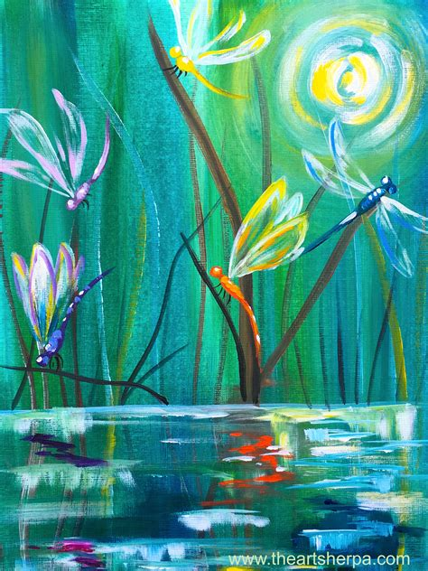 tutorial dance river dancing with dragonflies easy acrylic painting tutorial