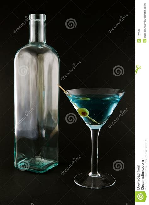blue martini bottle martini glass and bottle royalty free stock photo image