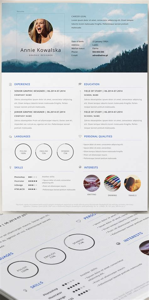 cv design free download psd 15 free elegant modern cv resume templates psd