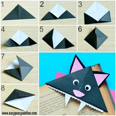 Folded Paper Corner Bookmark - cat corner bookmarks origami for easy