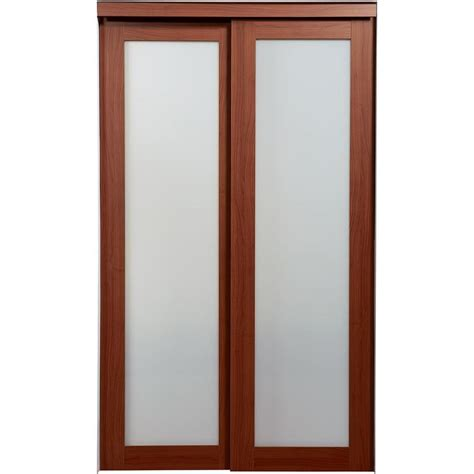 Frosted Glass Closet Sliding Doors Shop Reliabilt Frosted Glass Mdf Sliding Closet Interior Door With Hardware Common 60 In X 80