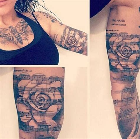 rose with music notes tattoo and note note ideas