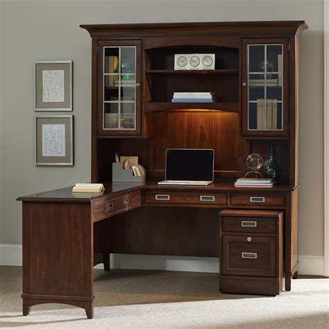 desk with hutch and file cabinet hooker furniture latitude walnut l shaped desk and hutch