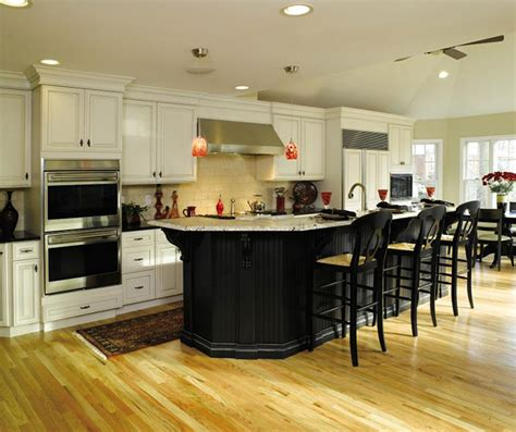 Off White Cabinets With Black Kitchen Island Decora White Kitchen Cabinets With Black Island