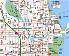 Maps Chicago by Road Map Of Chicago Downtown Chicago Illinois