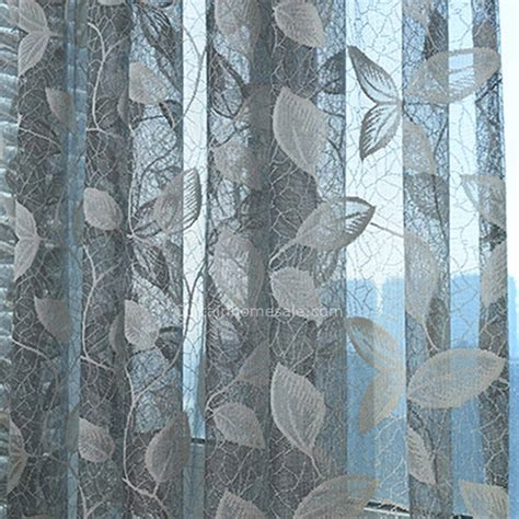 Sheer Patterned Curtains Gray Sheer Curtain Patterned With Leaves For Living Room