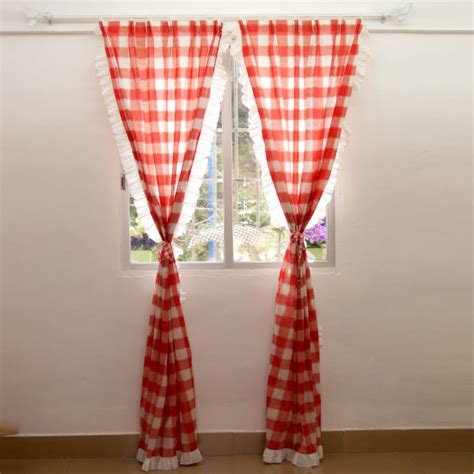 red country curtains sweet cotton red white ruffled plaid country curtains