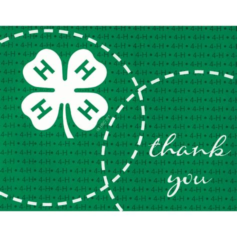 4 h thank you card template printable 4h thank you cards