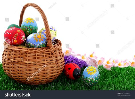 beautiful easter baskets hand painted beautiful colorful easter eggs in wicker