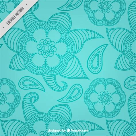 paisley pattern ai free blue hand drawn floral paisley pattern vector free download
